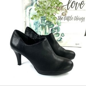 Alex Marie Black Leather Heeled Booties Size 7